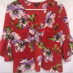TOPSHOP   Red Floral Open Blouse